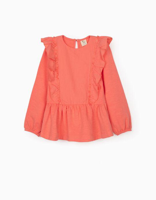 Sweatshirt Combinada para Menina, Coral