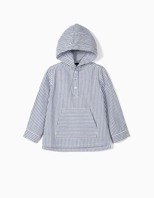 Camisa Riscas com Capuz para Menino, Azul/Branco