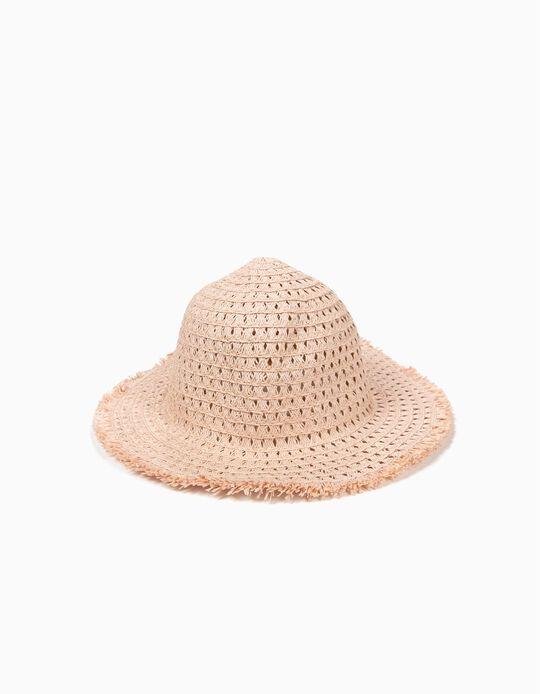 Sombrero de Paja para Niña con Lúrex, Rosa