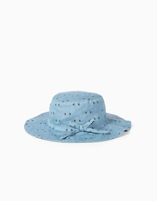 Denim Hat for Baby Girls 'Smile', Light Blue