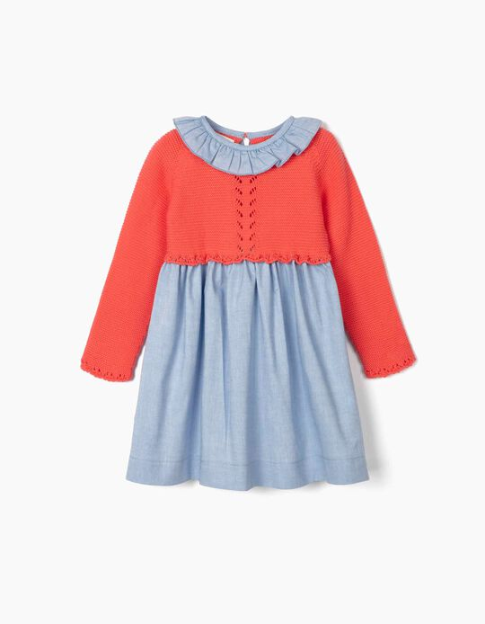 Dual Fabric Dress for Baby Girls, Blue/Coral