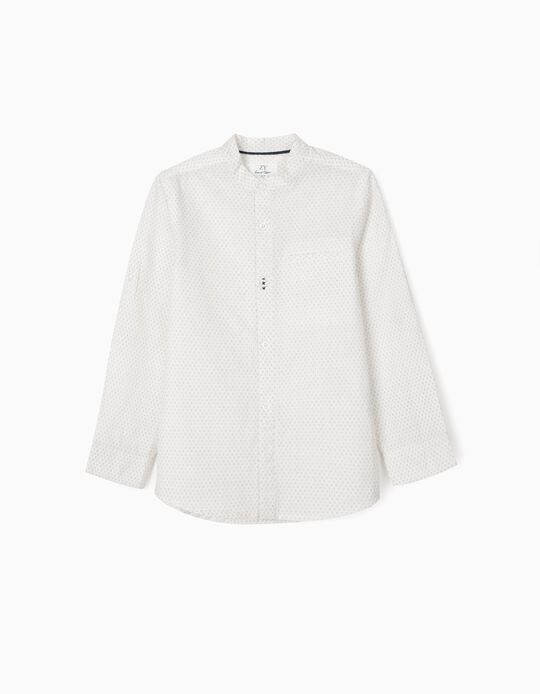 Chemise col mao garçon, blanc