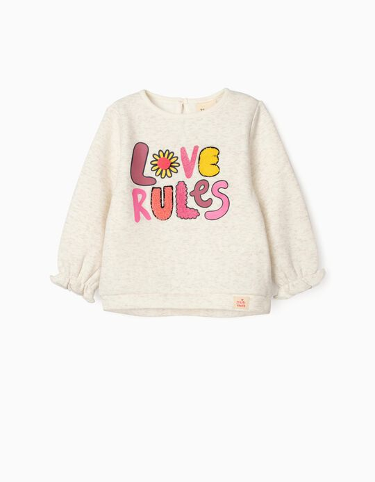 Sweatshirt for Baby Girls 'Love Rules', Beige