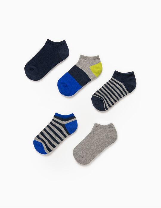5 Pares Meias Curtas para Menino 'Stripes', Multicolor