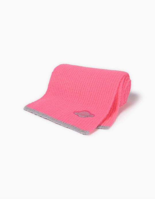 Ribbed Knit Scarf for Girls 'Space', Pink