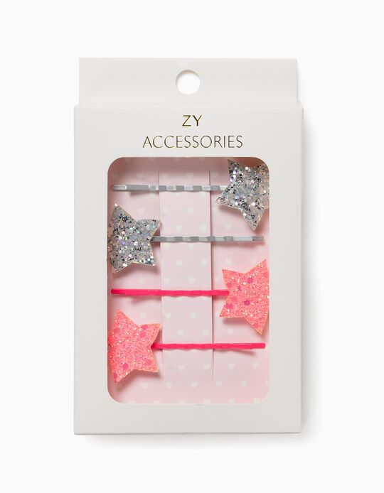 4 barrettes fille 'Stars', argenté/rose