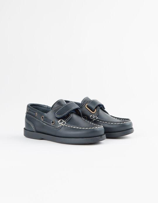 Zapatos Niño Náuticos Piel Azules