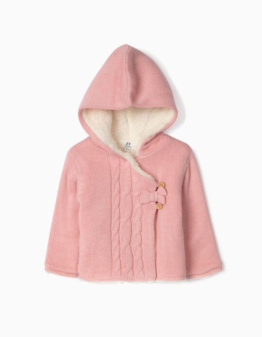 Hooded Cardigan with Fur Lining, for Newborn Baby Girls, Pink