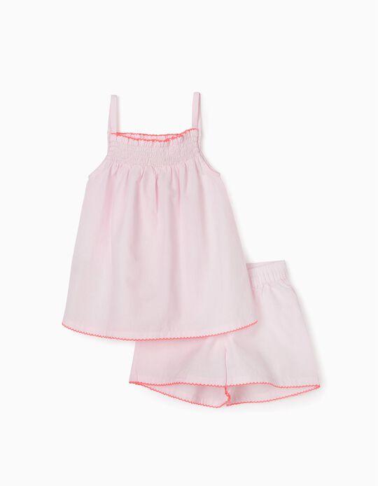 Pijama Plumetis para Niña, Rosa