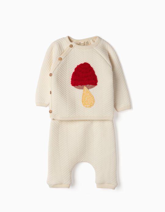 Camiseta y Pantalón para Recién Nacida 'Mushroom', Blanca