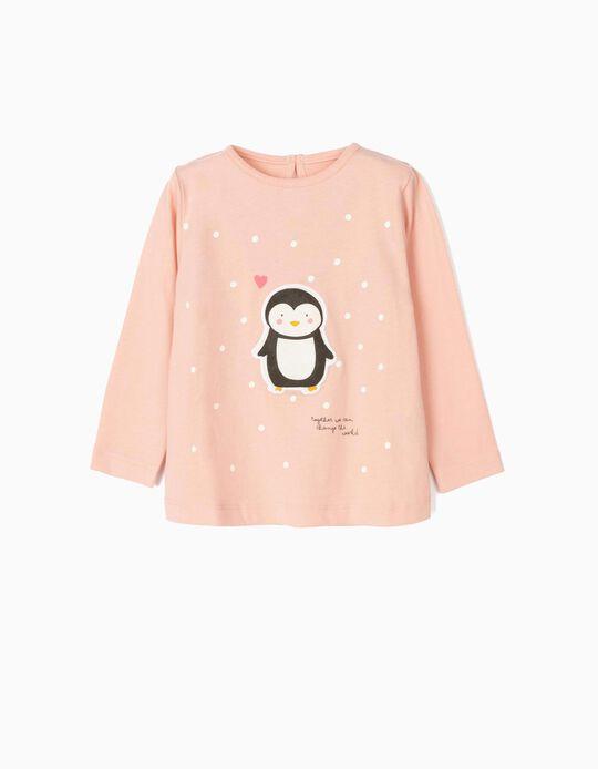 Camiseta de Manga Larga para Bebé Niña 'Cute Penguin', Rosa