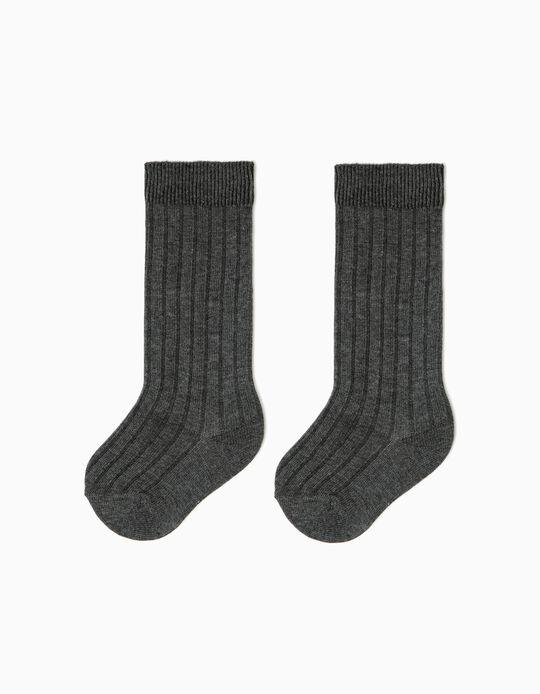 Ribbed High Socks for Boys, Dark Grey