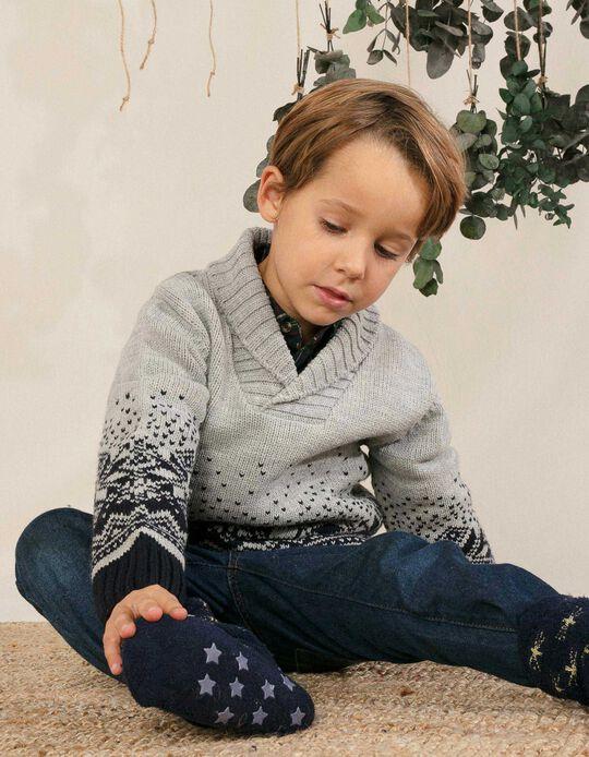 Camisola de Malha para Menino, Cinza/Azul Escuro