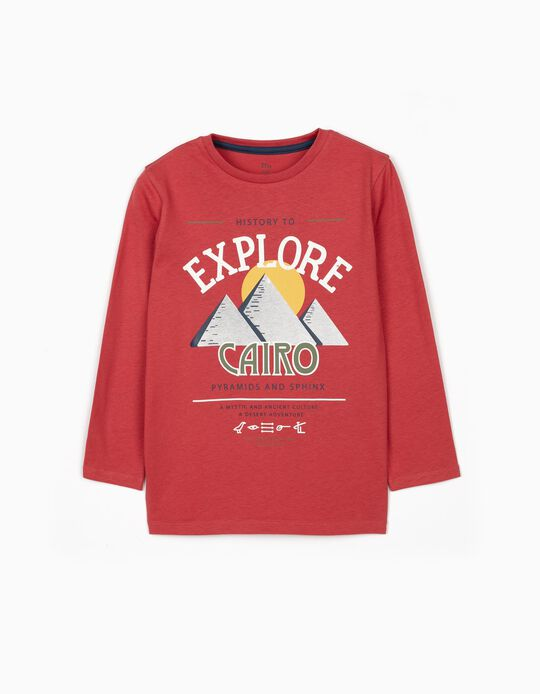 Long Sleeve Top for Boys, 'Egypt Tours', Dark Red