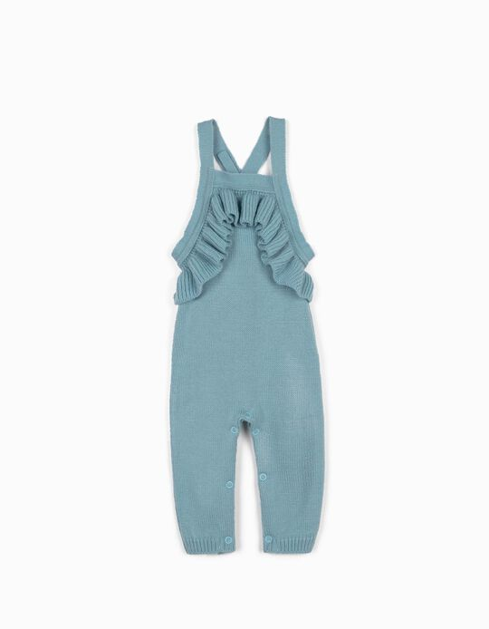 Knitted Jumpsuit for Newborn Baby Girls, Light Blue
