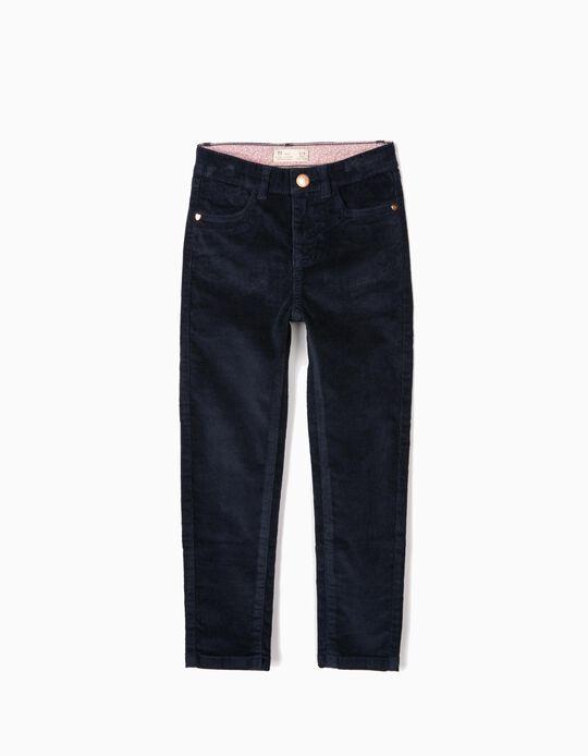 Pantalón de Pana para Niña, Azul Oscuro