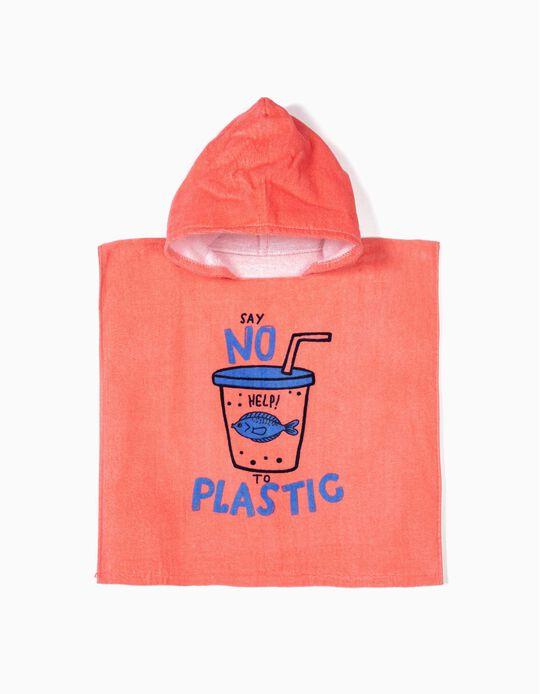 Poncho de Playa para Bebé Niño 'Say No To Plastic', Coral