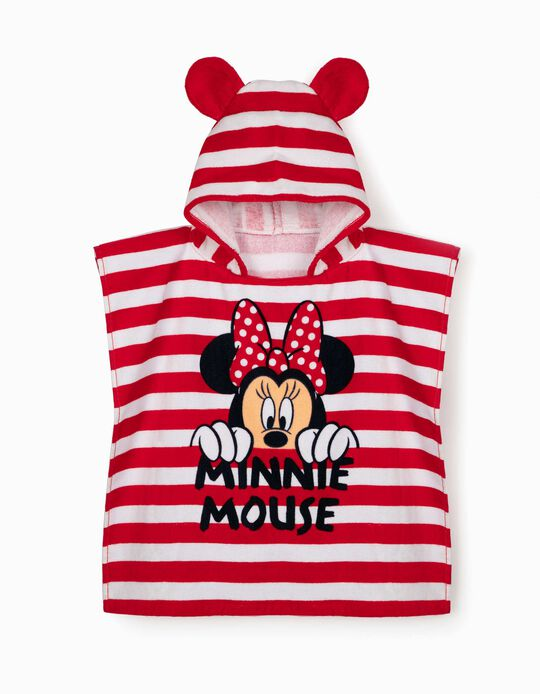 Beach Poncho for Girls, 'Minnie Mouse', White/Red