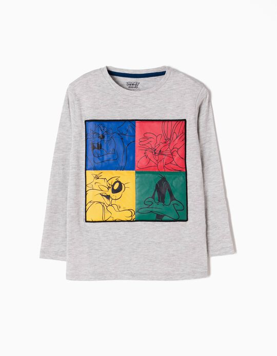 Camiseta Manga Larga Looney Tunes Gris