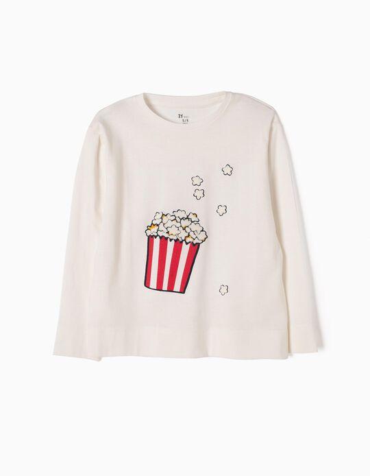 T-shirt Manga Comprida Popcorn Branca