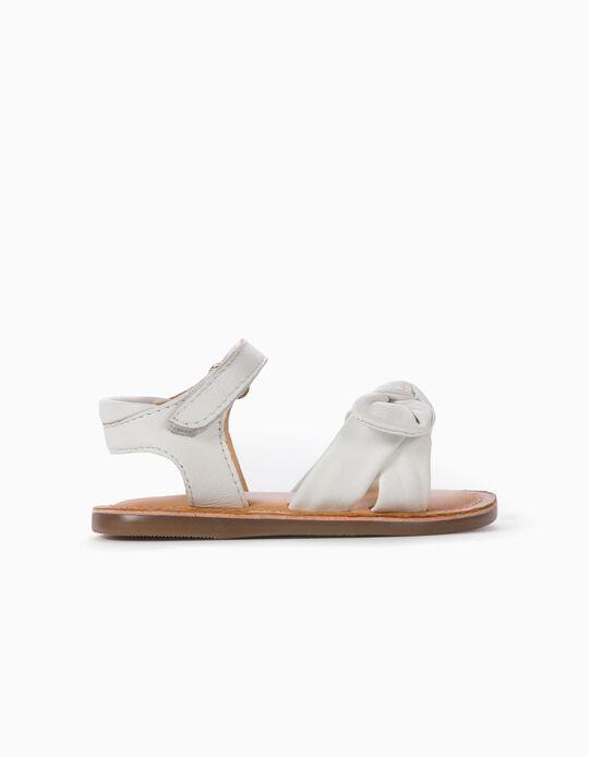 Sandales en cuir avec nœuds bébé fille, blanc