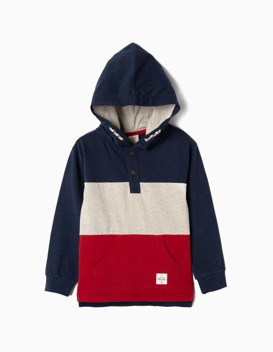 Sweatshirt com Capuz para Menino, Azul