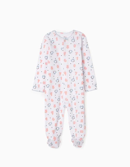 Sleepsuit for Baby Girls 'Numbers', White