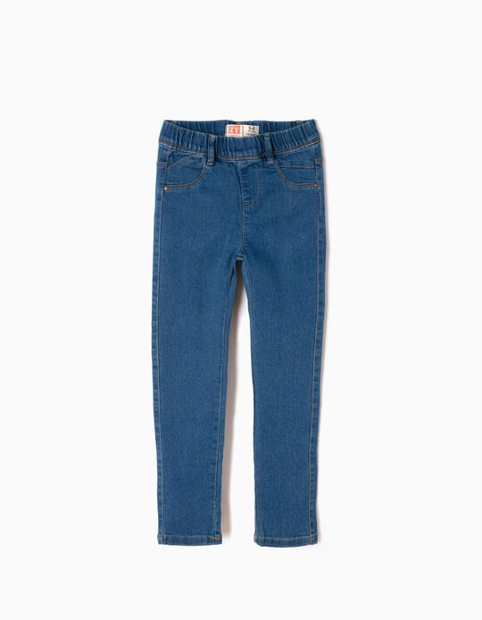 Denim Jeggings for Girls, Medium Blue