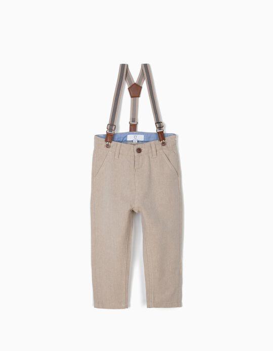 Pantalon Chino Bébé Garçon à Bretelles, Beige