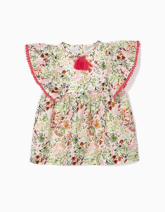 Blusa para Bebé Niña 'Flores' con Borlas, Blanca