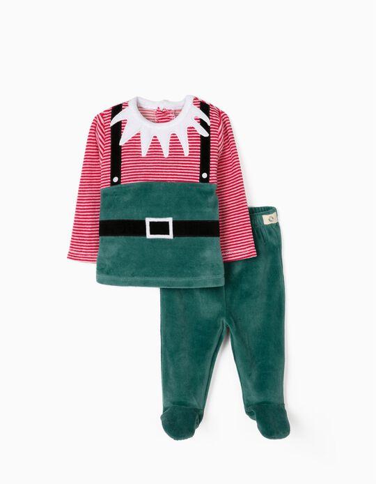 Pijama de Veludo para Recém-Nascido 'Christmas Elf', Verde/Vermelho