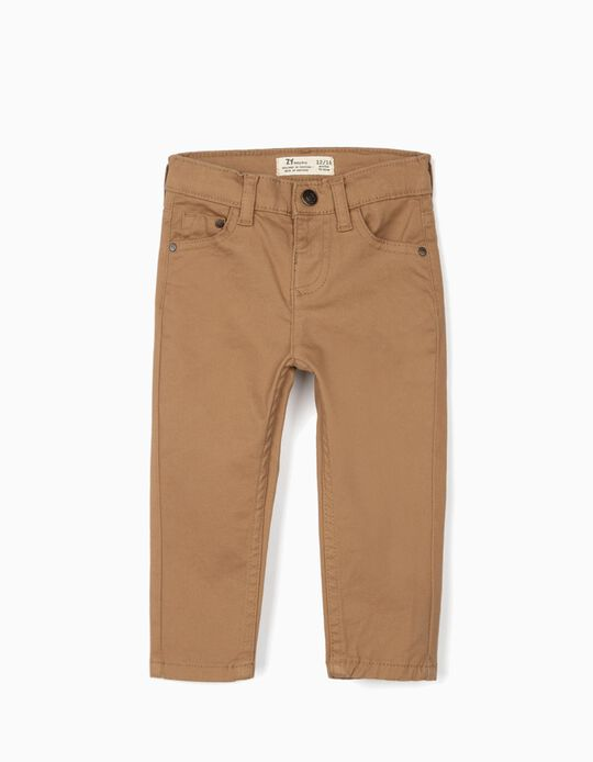 Twill Trousers for Baby Boys, Camel