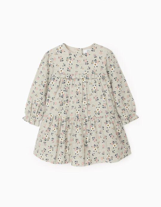 Vestido Floral para Bebé Menina, Cinza