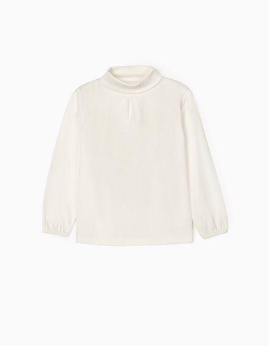 Camiseta de Manga Larga e Cuello Alto para Niña, Blanco