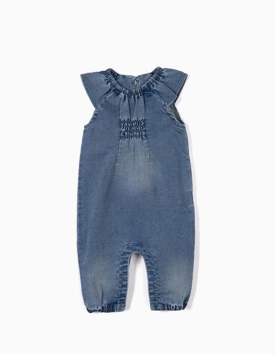 Macacão Denim para Recém-Nascida  'Comfort Denim', Azul