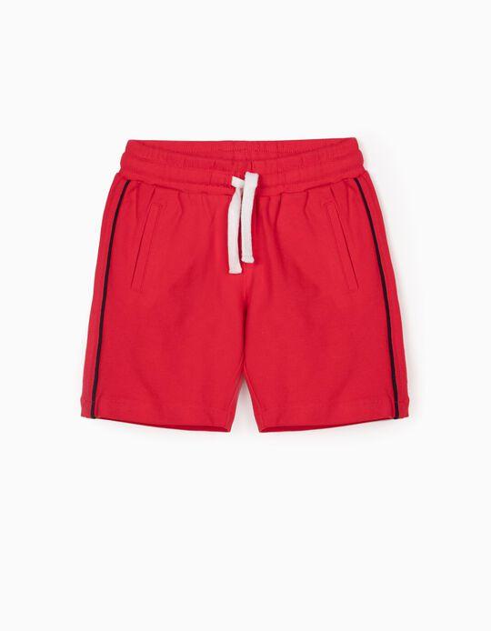 Short Deportivo Piqué para Niño, Rojo