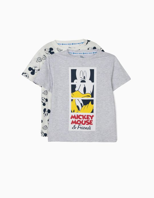 2 Camisetas para Niño 'Mickey & Friends', Blanco y Gris