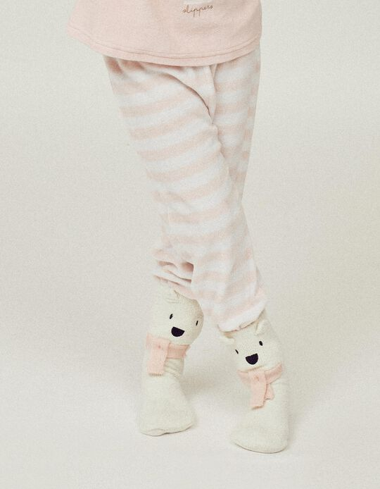 2 Pairs of Non-Slip Socks for Girls 'Winter Bear', Multicoloured