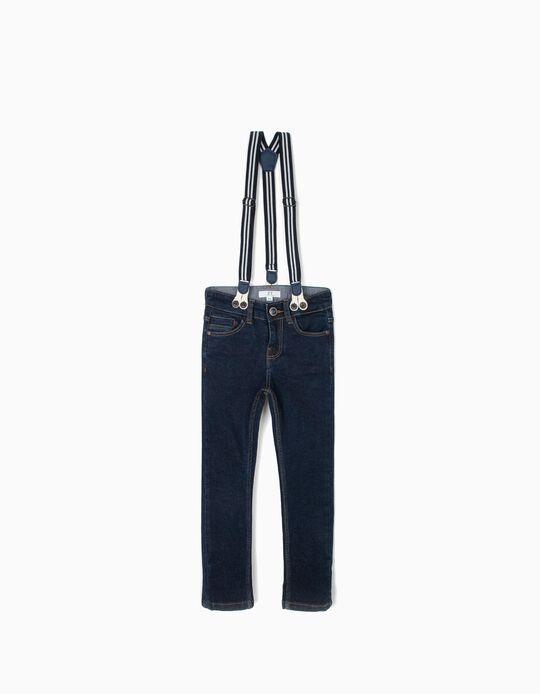 Calças de Ganga com Suspensórios para Menino, Azul Escuro