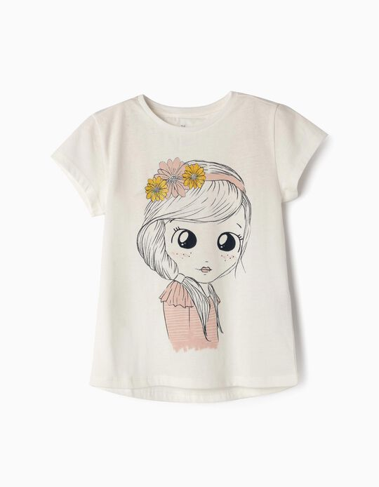 T-shirt para Menina 'Flower Girl', Branco