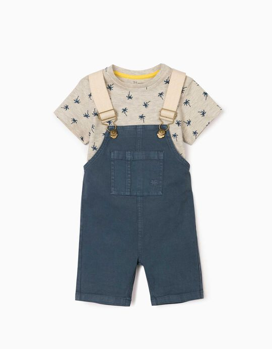 Dungarees & T-shirt for Baby Boys, 'Palm Trees', Blue/Beige