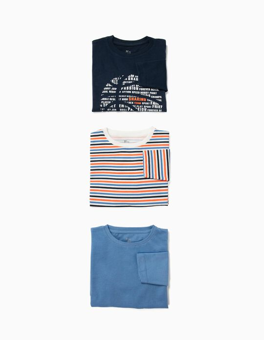 3 Camisetas de Manga Larga para Niño 'Sports', Multicolor