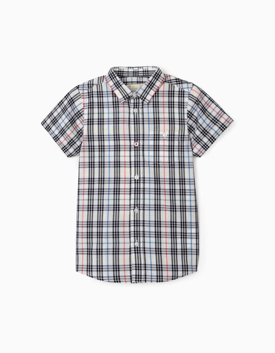 Plaid Short Sleeve Shirt for Boys, White/Blue