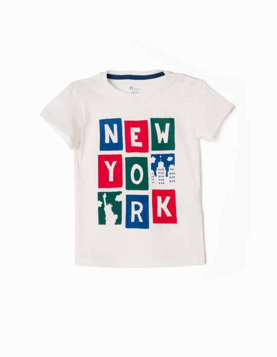 T-shirt New York Symbols Branca