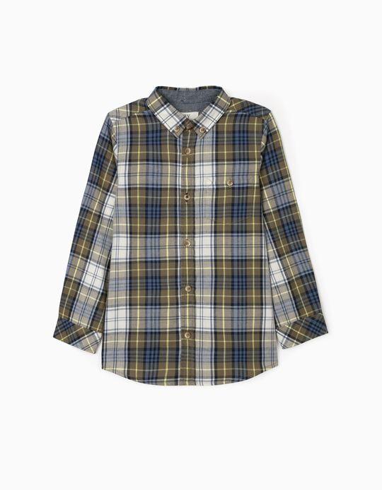 Camisa Xadrez para Menino, Verde/Azul