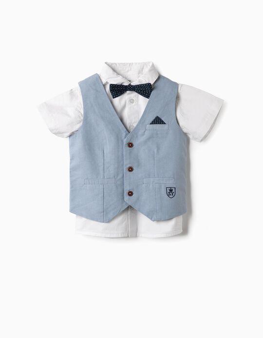 Chaleco, Camisa y Lacito para Bebé Niño, Azul y Blanco