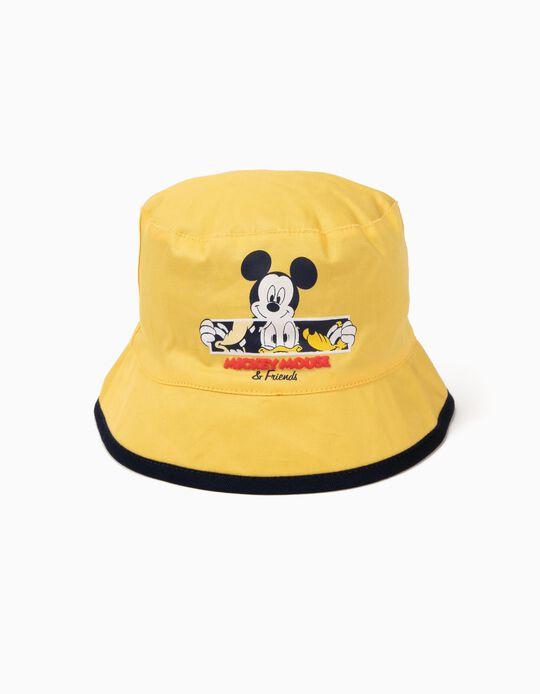 Sombrero para Bebé Niño 'Mickey & Friends' Reversible, Amarillo y Gris