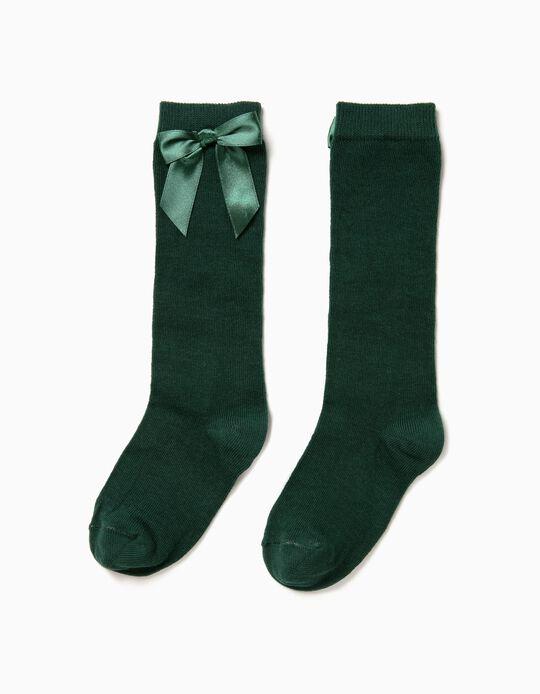 Calcetines Altos Verdes con Lazo