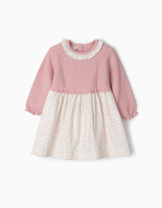 Combined Dress for Newborn Girls 'Flowers', Pink/White