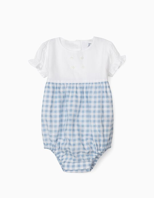 Gingham Jumpsuit for Newborn Baby Girls, White/Blue